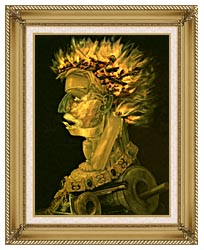 Giuseppe Arcimboldo Fire canvas with gallery gold wood frame