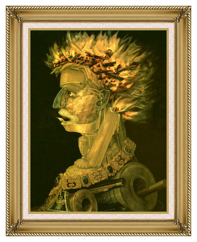 Giuseppe Arcimboldo Fire with Gallery Gold Frame w/Liner