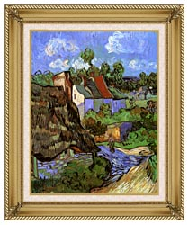 Vincent Van Gogh Houses At Auvers canvas with gallery gold wood frame