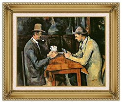 Paul Cezanne The Card Players canvas with gallery gold wood frame