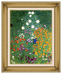 Gustav Klimt Farm Garden Portrait Detail canvas with gallery gold wood frame