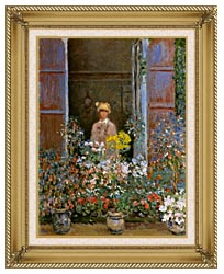 Claude Monet Camille Monet At The Window canvas with gallery gold wood frame