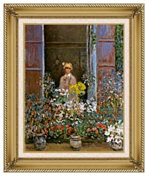 Claude Monet Camille Monet At The Window 1873 canvas with gallery gold wood frame