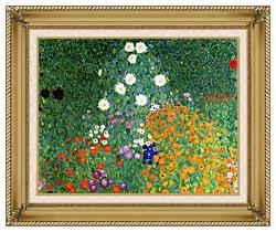 Gustav Klimt Farm Garden Detail canvas with gallery gold wood frame