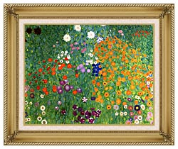 Gustav Klimt Farm Garden 1905 6 Detail canvas with gallery gold wood frame