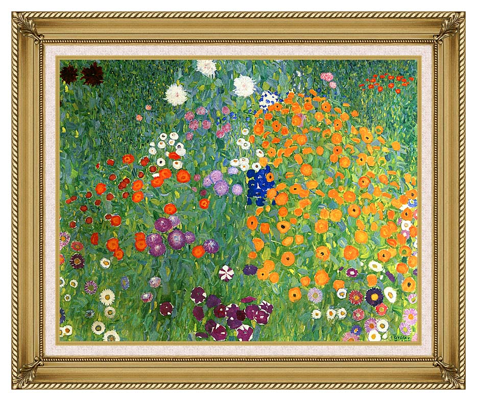 Gustav Klimt Farm Garden 1905-6 (detail) with Gallery Gold Frame w/Liner