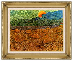 Vincent Van Gogh Evening Landscape With Rising Moon canvas with gallery gold wood frame