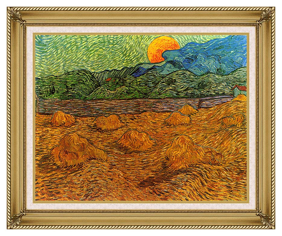 Vincent van Gogh Evening Landscape with Rising Moon with Gallery Gold Frame w/Liner