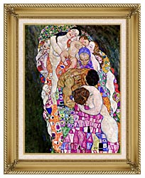 Gustav Klimt Death And Life Life Detail canvas with gallery gold wood frame