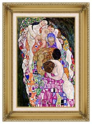 Gustav Klimt Death And Life Life Portrait Detail canvas with gallery gold wood frame