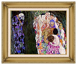 Gustav Klimt Death And Life Detail canvas with gallery gold wood frame