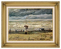 Vincent Van Gogh View Of The Sea At Scheveningen canvas with gallery gold wood frame