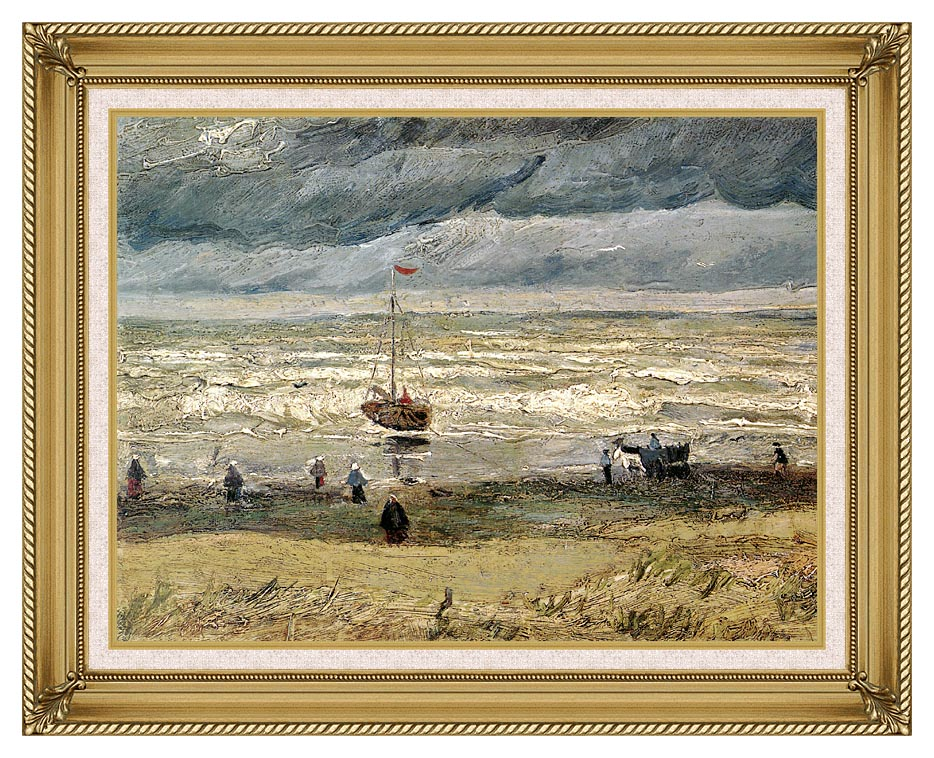 Vincent van Gogh View of the Sea at Scheveningen with Gallery Gold Frame w/Liner
