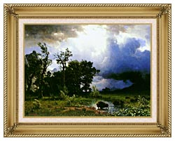 Albert Bierstadt Buffalo Trail The Impending Storm canvas with gallery gold wood frame