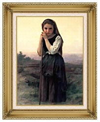 William Bouguereau Little Shepherdess canvas with gallery gold wood frame