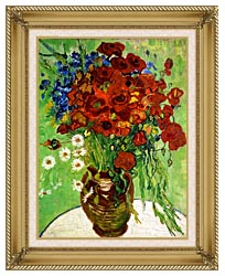 Vincent Van Gogh Still Life Red Poppies And Daisies canvas with gallery gold wood frame