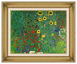 Gustav Klimt Farm Garden With Sunflowers Detail canvas with gallery gold wood frame