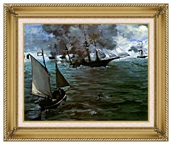 Edouard Manet Battle Of The Kearsarge And The Alabama Detail canvas with gallery gold wood frame