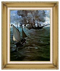 Edouard Manet Battle Of The Kearsarge And The Alabama Portrait Detail canvas with gallery gold wood frame