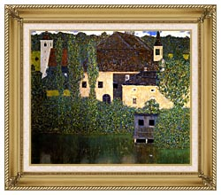 Gustav Klimt Schloss Kammer On The Attersee I canvas with gallery gold wood frame