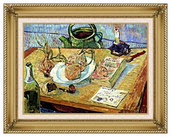 Vincent Van Gogh Still Life Plate With Onions Drawing Board Pipe And Other Objects canvas with gallery gold wood frame