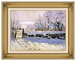 Claude Monet The Magpie Snow Effect canvas with gallery gold wood frame