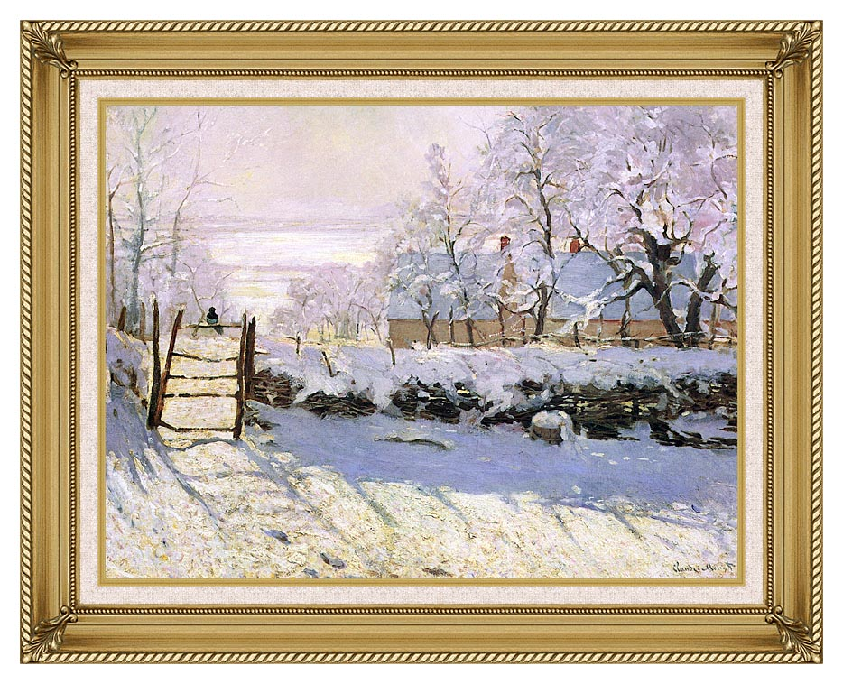 Claude Monet The Magpie, Snow Effect with Gallery Gold Frame w/Liner