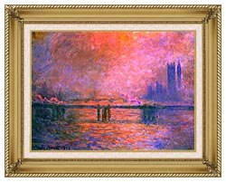 Claude Monet Charing Cross Bridge La Tamise 1903 canvas with gallery gold wood frame