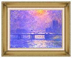 Claude Monet Charing Cross Bridge La Tamise canvas with gallery gold wood frame