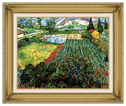 Vincent Van Gogh Field With Poppies canvas with gallery gold wood frame