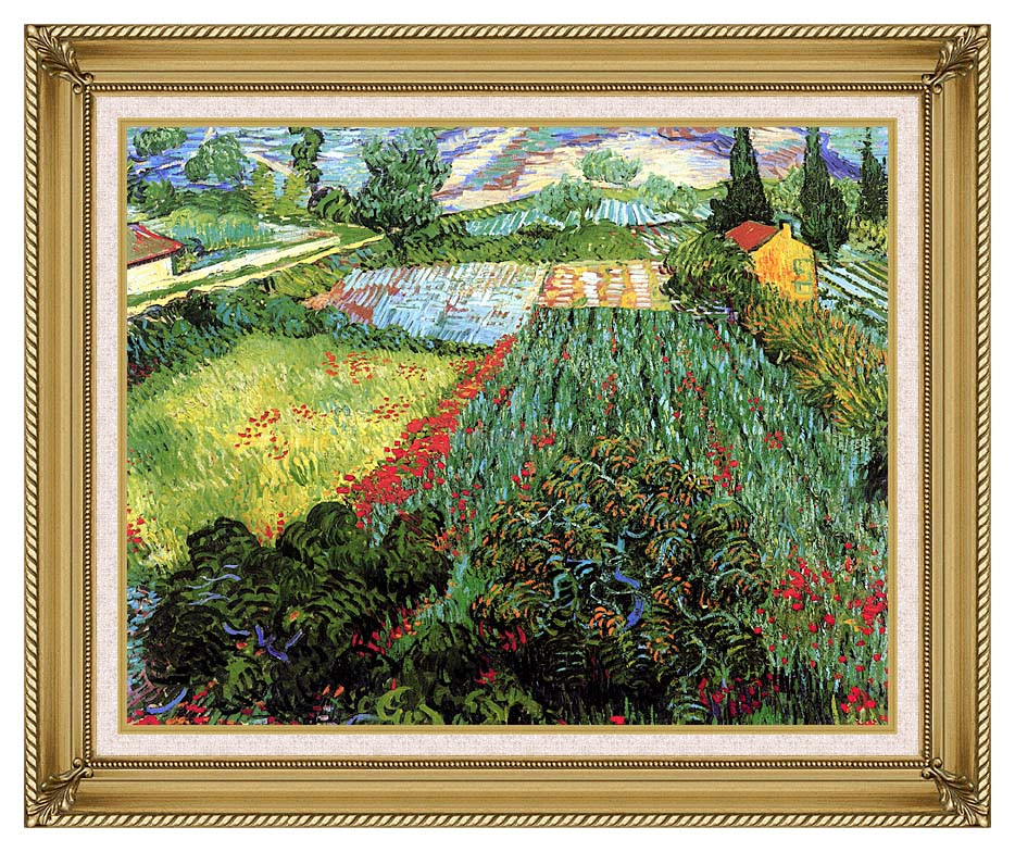 Vincent van Gogh Field with Poppies with Gallery Gold Frame w/Liner