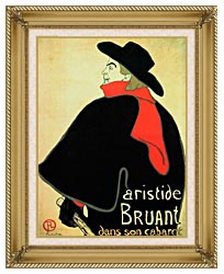 Henri De Toulouse Lautrec Aristide Bruant In His Cabaret canvas with gallery gold wood frame