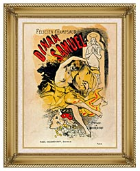 Jules Cheret Cover For Felicien Champsaurs Dinah Samuel canvas with gallery gold wood frame