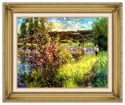 Pierre Auguste Renoir The Seine At Chatou canvas with gallery gold wood frame