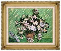 Vincent Van Gogh Vase With Pink Roses I canvas with gallery gold wood frame