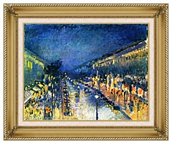 Camille Pissarro Boulevard Montmartre Night Effect canvas with gallery gold wood frame