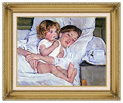 Mary Cassatt Breakfast In Bed canvas with gallery gold wood frame