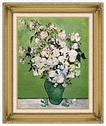 Vincent Van Gogh Vase With Pink Roses II canvas with gallery gold wood frame