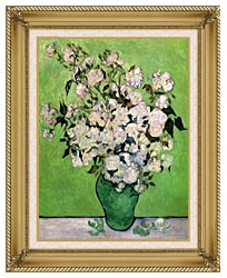 Vincent Van Gogh Vase With Pink Roses III canvas with gallery gold wood frame