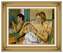 Mary Cassatt Mother Combing Her Childs Hair canvas with gallery gold wood frame