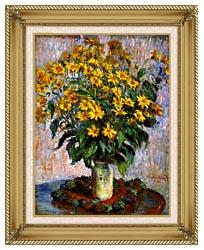 Claude Monet Jerusalem Artichoke Flowers canvas with gallery gold wood frame