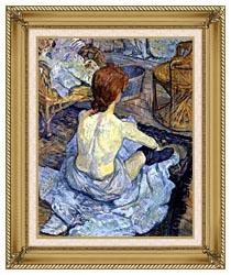 Henri De Toulouse Lautrec Rousse La Toilette canvas with gallery gold wood frame