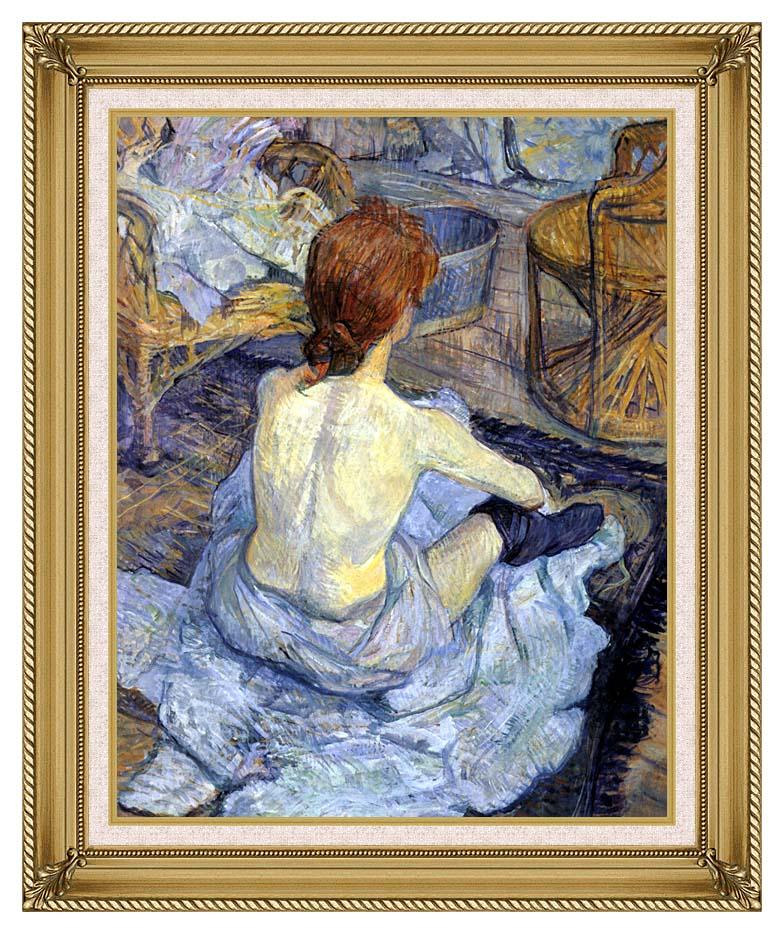 Henri de Toulouse Lautrec Rousse, La Toilette with Gallery Gold Frame w/Liner