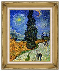 Vincent Van Gogh Road With Men Walking Carriage Cypress Star And Crescent Moon canvas with gallery gold wood frame
