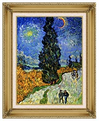 Vincent Van Gogh Road With Men Walking Carriage Cypress Star And Crescent Moon 1890 canvas with gallery gold wood frame