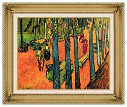 Vincent Van Gogh Les Alyscamps Avenue At Arles canvas with gallery gold wood frame