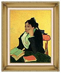 Vincent Van Gogh Madame Ginoux With Books canvas with gallery gold wood frame