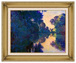 Claude Monet Morning On The Seine Near Giverny canvas with gallery gold wood frame