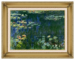 Claude Monet Green Reflections I Left Detail canvas with gallery gold wood frame