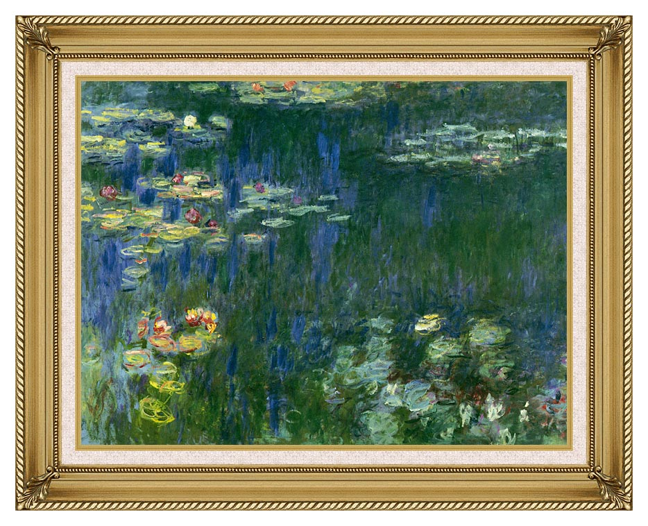 Claude Monet Green Reflections I (left detail) with Gallery Gold Frame w/Liner
